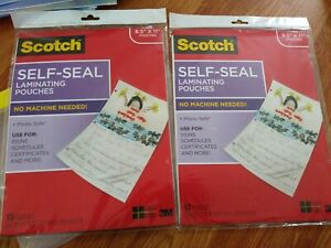 2 Scotch Self seal Laminating Pouches 20 Sheets For 8 5x11 No Machine Needed