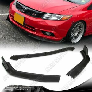 For 12 Honda Civic 4dr sedan Jdm Cs style Unpainted Black Front Bumper Lip Kit