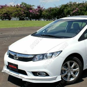 For 2012 Honda Civic 4dr Jdm Cs style Painted White Front Bumper Body Kit Lip
