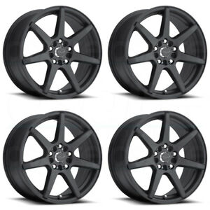 16x7 Raceline 131b Evo 5x108 5x114 3 20 Black Wheels Rims Set 4