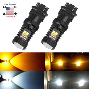 2pc 3157 Switchback Led Turn Signal Light 4157na 3457a Led Bulb 3156 White Amber