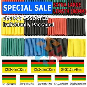 360pcs 2 1 Heat Shrink Tube Tubing Sleeving Wrap Wire Cable Insulated Assorted