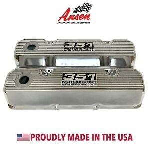 Ford 351 Cleveland Motorsport High Performance Valve Covers Polished Ansen Usa