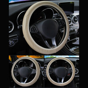 Us Beige 38cm 15 Car Suv Microfiber Leather Steering Wheel Cover For Bmw Benz