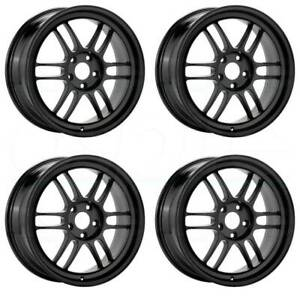 17x9 Enkei Rpf1 5x100 35 Black Paint Wheels Rims Set 4