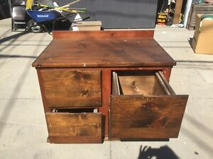 Vintage Style Genuine Wooden Filing Cabinet 4 Drawer 27 x42 x34