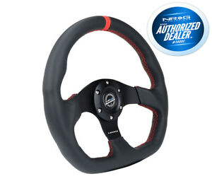 Nrg Steering Wheel Flat Bottom Red Stitch With Center Mark Rst 024mb r rd