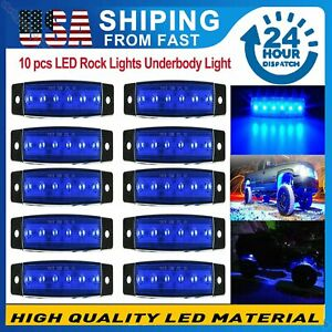 Blue Led Rock Light W 10 Pods Lights For Jeep Off Road Truck Car Atv Under Body