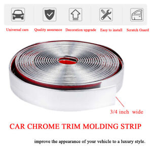 3 4 Chrome Trim Molding 16 Ft Auto Car Body Side Trail Roof Door Decorate Strip