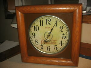 Coca-Cola Clock With Solid Oak Frame Antique Reproduction Battery Operated