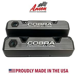 Ford 351 Cleveland Valve Covers Black Cobra Powered By Ford Logo Ansen Usa