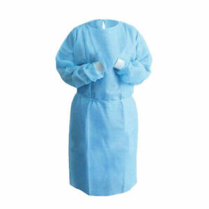 10 Blue Medical Dental Isolation Gown With Knit Cuff Regular Size Gowns