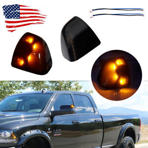 Black Lens Side Mirror Indicator Amber Led Lights For Dodge Ram 1500 2500 3500
