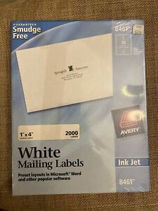 Avery Easy Peel Mailing Address Labels Inkjet 1 X 4 White 2000 box 8461