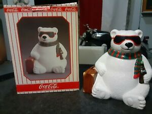 Coca Cola Cookie Jar Polar Bear with Sunglasses & Suitcase in factory box