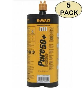 5 Pack Dewalt Pure50 Epoxy Injection Adhesive Anchoring System 21 Oz ea 08605
