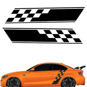 2pcs Racing Plaid Hood Side Door Fender Stripes Decal Stickers For Car Truck Suv