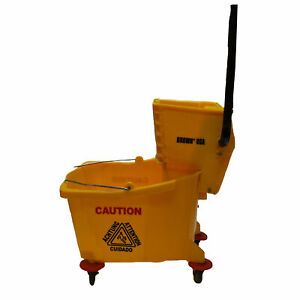 Brown Usa Brmb0015 Floor Cleaning Mop Bucket With Wringer And Wheels 32 Liters