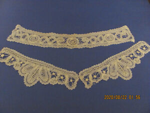 3 Piece Fine Antique Ivory Brussels Princesse Lace Collar And Cuffs A16