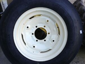 Two 600x16 6 00 16 6 Ply 3 Rib Tractor Tires W rims