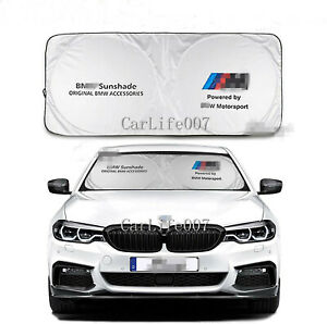 Car Front Rear Windshield Sun Shade Shield Cover Visor Uv Block Foldable For Bmw