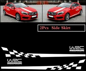 2 Pcs Wrc Racing Plaid Side Door Fender White Stripes Stickers For Race Car Suv
