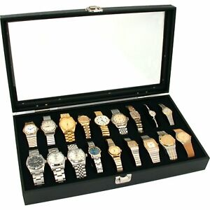 New Glass Top Watch Display Jewelry Case Holds 18 Watches 14 3 4 X 8 1 4