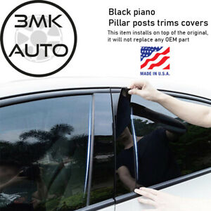 Black Piano Pillar Posts Trims Covers For Kia Sorento 2005 2010 6pcs