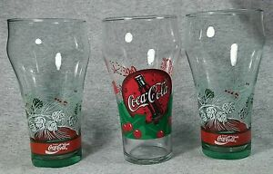 Coca Cola Drinking Glass Tumbler Qty 3 Holiday Winter Christmas Cups 14 oz