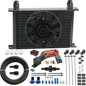25 Row 6an Engine Transmission Oil Cooler Fan In hose Thermostat Heavy Duty Kit