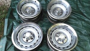 73 87 Chevy Gmc 2wd 5 Lug 15x7 Rally Wheel Set Of 4 With Caps And Rings