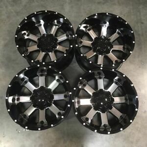 Used 20x12 D8 Fit Lifted Chevy 8x165 1 8x6 5 44 Black Machined Face Wheels Set