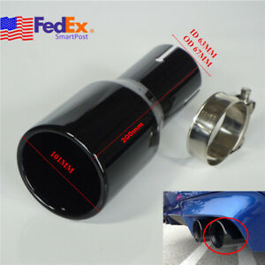 Baked Black Car Exhaust Tip Tail Muffler Pipe 2 5 Inlet 4 Out Stainless Steel