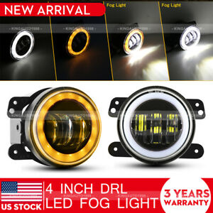 Pair 4 Inch Cree Led Fog Lights White Amber Halo Ring Drl For Jeep Wrangler