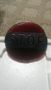Antique Red Glass Stop Embossed Notched 4 1 4 Tail Light Lens Rat Rod