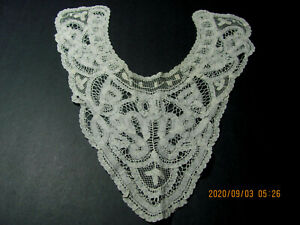Vintage Ladies White Brussels Princesse Net Lace Ascot Collar S4