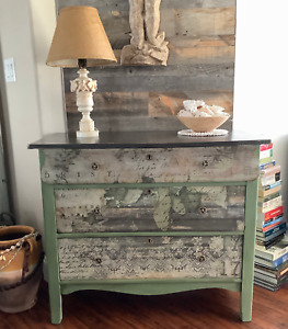 Vintage Wood Dresser Drawers Painted Rehabbed