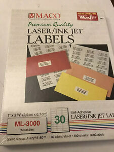 Maco Laser ink Jet White Address Labels 1 X 2 5 8 Inches 30 Per Sheet 3000 New