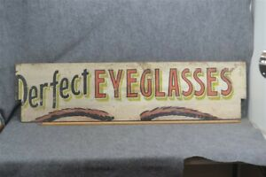 Antique Advertising Sign Perfect Eyeglasses Wood Painted 3 Colors 1900