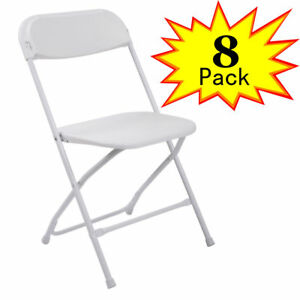 8 Pack Commercial Wedding Quality Stackable Plastic Folding Chairs White