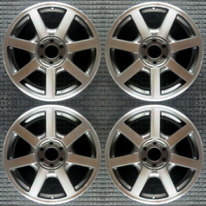 Cadillac Srx Machined W Charcoal Pockets 18 Oem Wheel Set 2004 To 2005