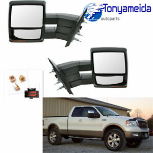Towing Power Heated Pair Tow Mirrors Signal Puddle Chrome For Ford 07 14 F150