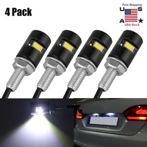 4pcss Universal Motorcycle Car Smd Led License Plate Light Screw Bolt Lamp Bulbs