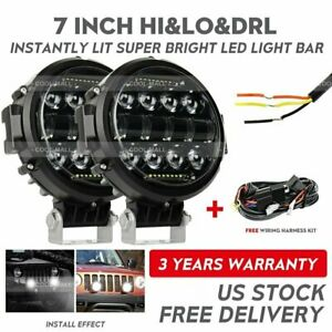 2x 7 Inch Round Led Work Light Spot Flood Lamp Drl Bar Driving Offroad 4wd Wire