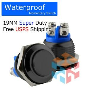 19mm Waterproof Starter Switch Boat Horn Momentary Push Button Stainless Steel