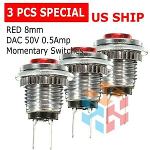 3 Pack Red 8mm Spst Normally Open Dac 50v 0 5a Momentary Push Button Switch