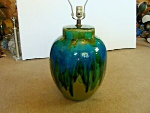 Huge Mid Century Modern Turquoise Blue Drip Glaze Table Lamp