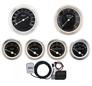 Motor Meter Racing 6 Gauge Set Classic Electronic Speedometer Gps Set Kmh C Bar