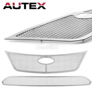 2x Main Upper Lower Bumper Mesh Grille Grill Combo Insert For Ford Fusion 10 11
