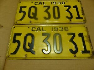 1938 California License Plate Yom Street Rod Hot Project Chevy Ford Dodge Ply
